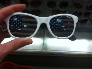 "While I was tempted to get these stylish American flag shades, I decided to err in a less ""in your face"" on my face approach."